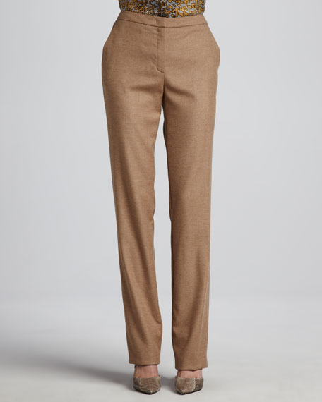 Escada Classic Zip-Front Pants, Pecan