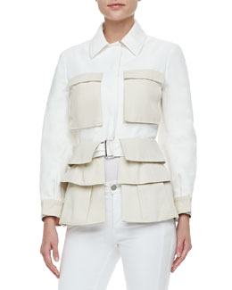 Alexander McQueen Two-Tone Tiered Utility Jacket