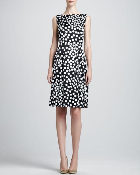 Sleeveless Dot-Print Bateau Dress, Caviar/Multi