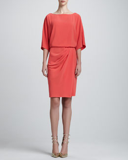St. John Collection Luxe Crepe Kimono-Sleeve Wrap Dress, Hibiscus