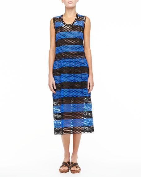 Circle-Cutout Striped Dress