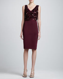 St. John Collection Sateen Milano Fitted Dress with Paillettes, Chambord