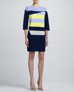 St. John Collection Diagonal Milano Knit Colorblock Tunic Dress, Caviar/Limestone