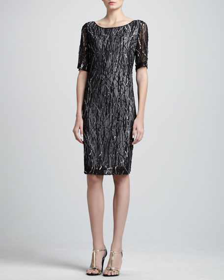 Hand Beaded Georgette Elbow Length Sleeve Shift Dress With Infinity Wave Print Stretch Silk Lining, Caviar/Multi