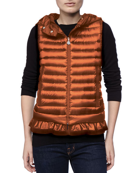 Hooded Peplum Puffer Vest, Orange
