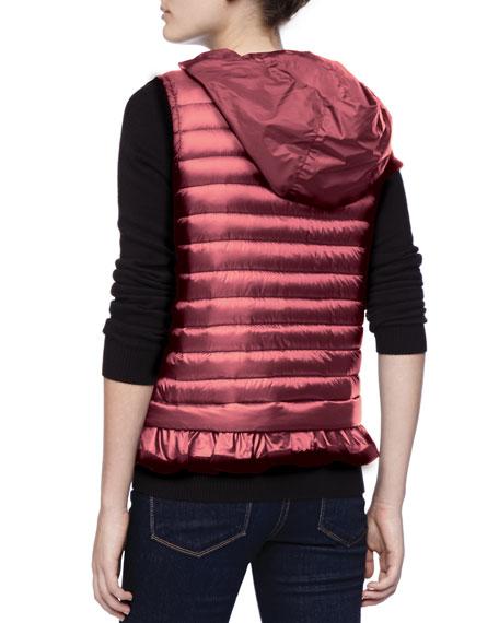 Hooded Peplum Puffer Vest, Fuchsia