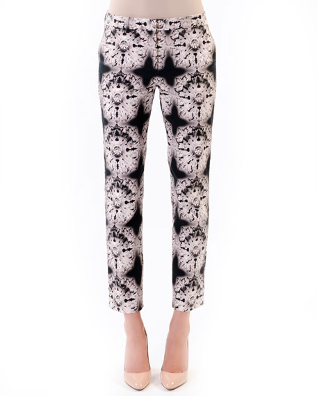 Printed Twill Ankle Pants, Black/White/Flora