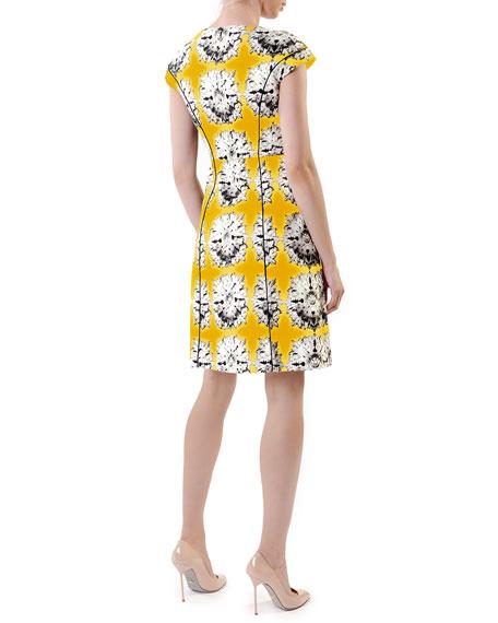 Cap-Sleeve Floral Full-Skirt Dress, Yellow