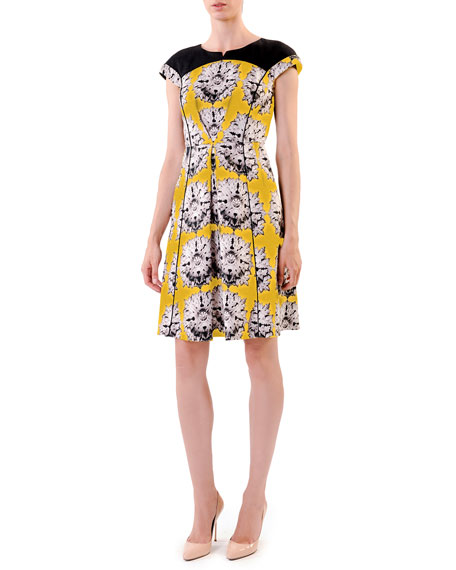 Cap-Sleeve Floral Full-Skirt Dress, Yellow
