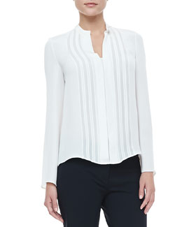 Derek Lam Georgette-Panel Silk Blouse, Ivory