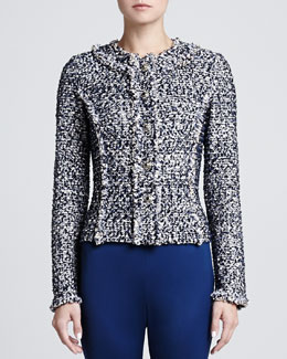 St. John Collection Metallic Dot tweed Knit Jacket with Hidden Placket & Fringe Trim Detail, Marine/Multi