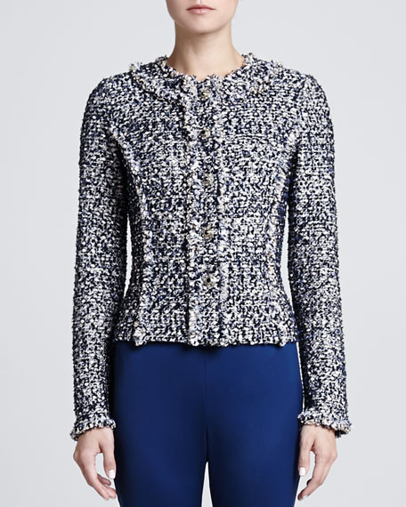 Metallic Dot tweed Knit Jacket with Hidden Placket & Fringe Trim Detail, Marine/Multi