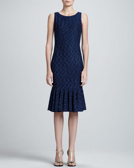 Tweed Sheath Dress, Marine