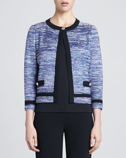 St. John Collection Spliced Cord Tweed Knit Three-quarter Length Sleeve Jacket with Pique Knit Trim, Pacific/Multi