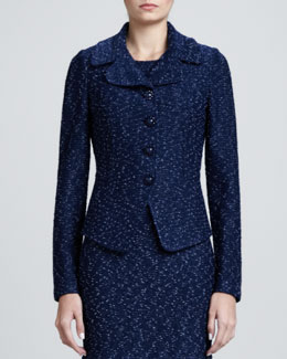 St. John Collection Donegal Tweed Fitted Jacket, Marine/Multi