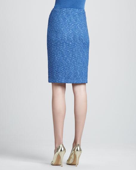 Tweed Pencil Skirt, Pacific/Multi