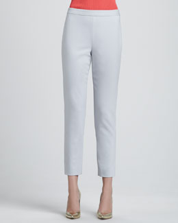 St. John Collection Doubleweave Stretch Cotton Audry Trouser Pants, Oyster