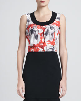 St. John Collection Sleeveless Floral Blouse, Hibiscus/Oyster