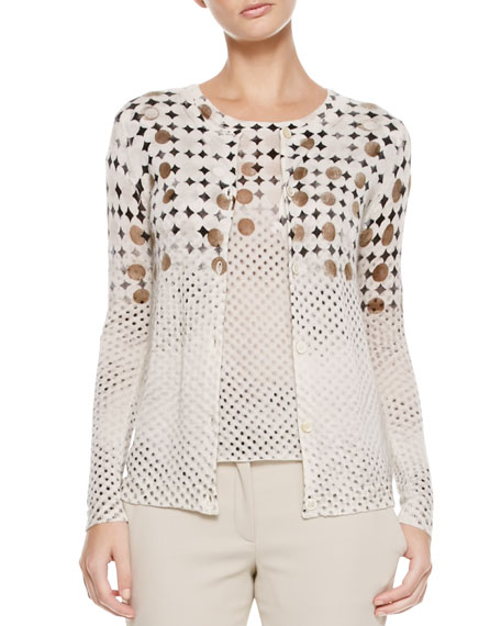 Daisy & Polka-Dot Cardigan, Cream/Brown