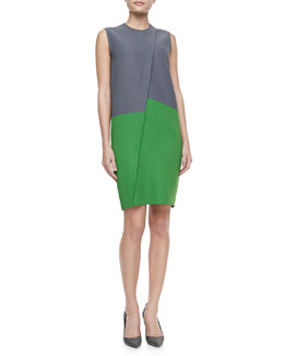 Cedric Asymmetric Colorblock Dress, Gray/Green