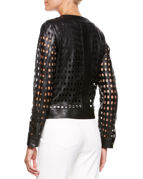 Leather Cutout-Grid Jacket, Black