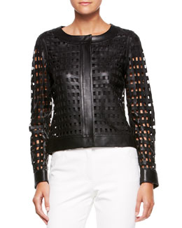 Escada Leather Cutout-Grid Jacket, Black