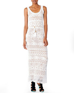 Emilio Pucci Empire-Waist Crochet Maxi Dress