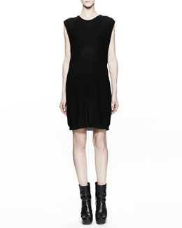Rick Owens Sleeveless Cotton Knit Tunic Dress, Black