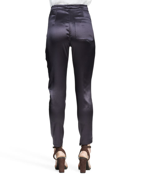 Reversible Stretch-Silk Satin Drawstring Pants
