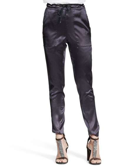 Reversible Stretch-Silk Satin Drawstring Pants