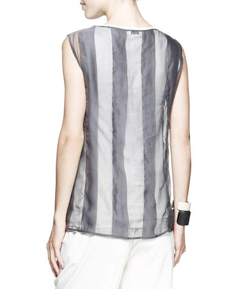 Sleeveless Sheer Striped Top