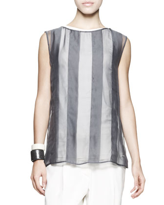Sleeveless Sheer Striped Top