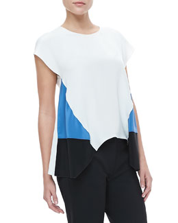 Derek Lam Cap-Sleeve Handkerchief-Hem Blouse, White/Black
