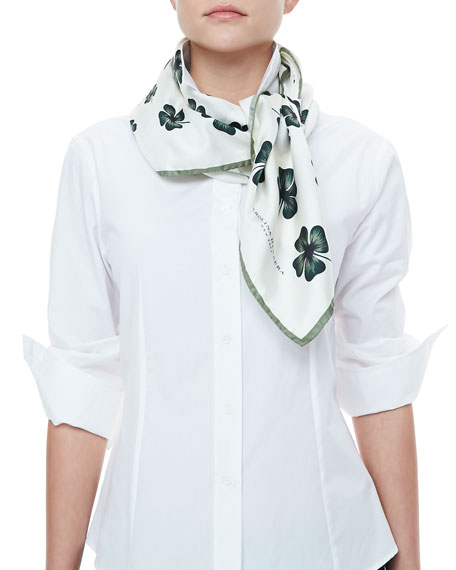 Archive Clover-Print Square Silk Scarf, White/Green