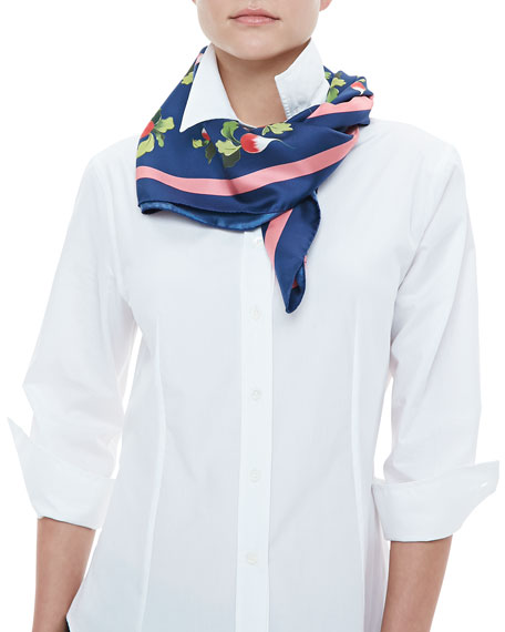 Archive Radish-Print Square Silk Scarf, Navy/Pink