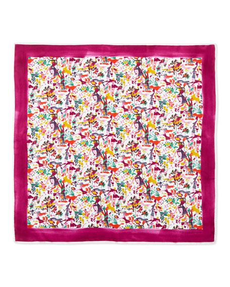 Lovers-Print Square Silk Scarf, Fuchsia