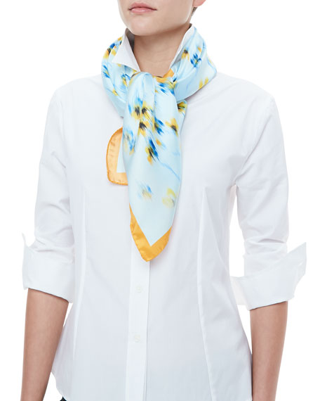 Archive Pansies Deco Floral-Print Scarf, Blue/Yellow