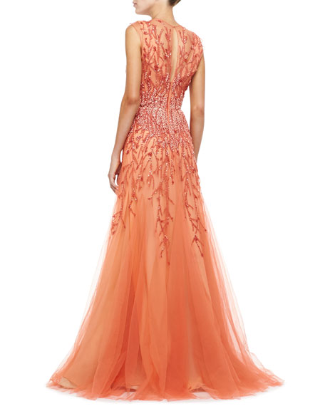 Sleeveless Embroidered Tulle Gown, Coral