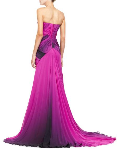 Strapless Ombre Chiffon Gown, Fuchsia/Black