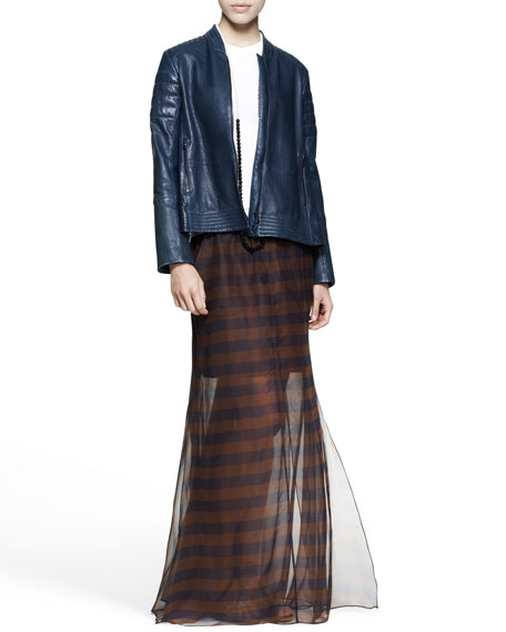 Sheer Mixed-Stripe Maxi Skirt