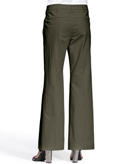 Cotton Flat Front Wide Leg Pant, Oak