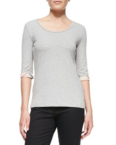 3/4-Sleeve Check-Cuff Scoop Tee, Pale Gray