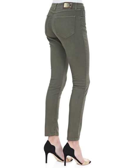 Cropped 5-Pocket Skinny Jeans, Olive