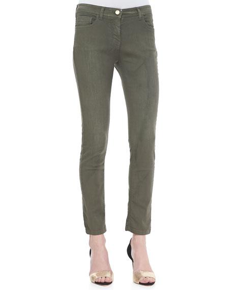 Cropped 5-Pocket Skinny Jeans, Olive