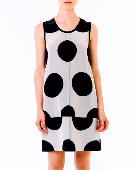 Dot-Print Dress, Black/White