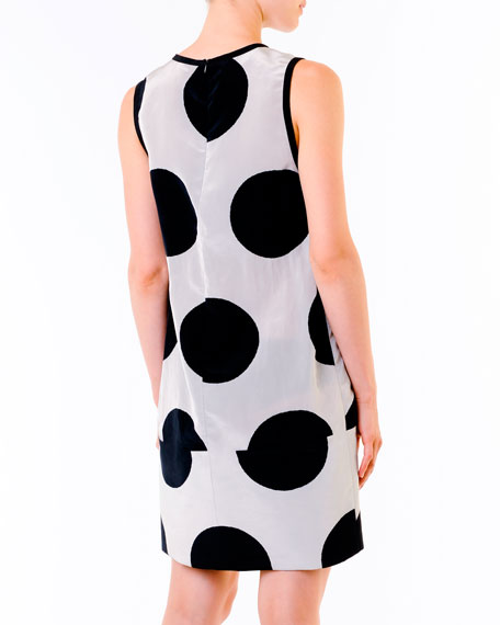 Dot-Print Dress, Black/White