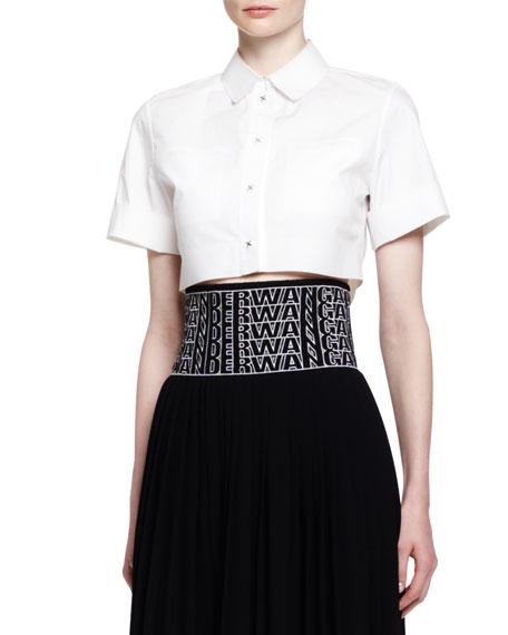 Short-Sleeve Buttoned Crop Top