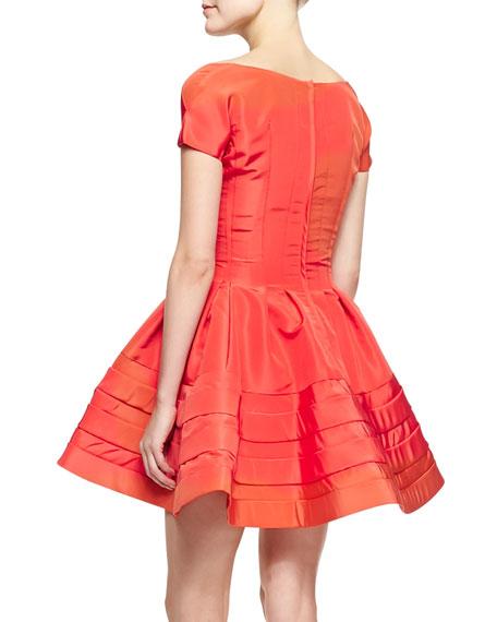 Short-Sleeve Faille Flare Dress, Azalea