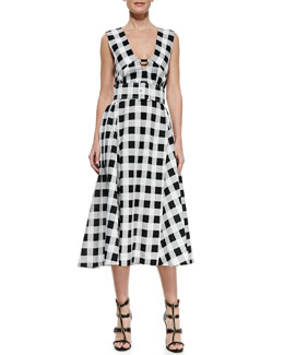 Derek Lam Checkered Belted Midi Dress