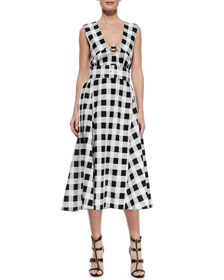 Checkered Belted Midi Dress